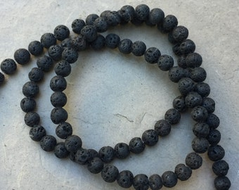 Lava Beads, Round Lava Beads, 4mm, 15 inch strand