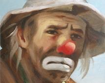 Emmett Kelly Jr. circus clown 24x20 painting autographed by Emmett.  Artist, RUSTY RUST / 14249