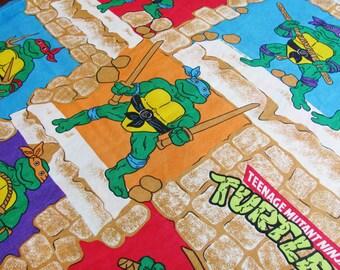 Teenage Mutant Ninja Turtles Sheet 1988 Twin Size Flat No Iron Polyester Cotton Blend Bibb Company  Mirage Studios 1988 Super Hero Bedroom