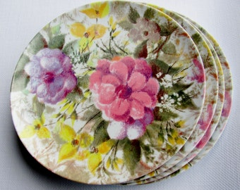 Park Avenue Melmac Melamine Plates By Texas Ware 4 Floral Watercolor Pastel Dinner Plates