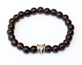 Smoky Quartz Stretch Bracelet with Wolf head charm