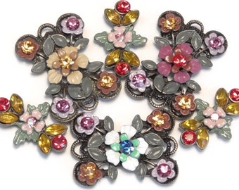 Six 2 Hole Slider Beads 2 Hole Spacer Beads Multi Color Sapphire Topaz Fuchsia Siam Rose AB Fancy Hand Painted Renaissance Victorian Floral