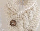 chunky scarf cowl neckwarmer, proceeds to charity, pale cream, acrylic - handknit, handknitted