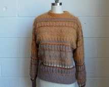 Vintage Escada Sweater 1980s Pullover Sweater Taupe Brown and Rust Mohair Pullover Metallic Yarn Warm and Fuzzy Winter Sweater Size Medium