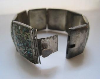 Turquoise Bracelet, Ethnic Bracelet,  Crushed Turquoise, Turquoise Inlay, Panel Bracelet, Ethnic Jewelry