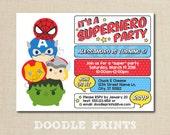 Tsum Tsum Avengers SuperHero Birthday Party Invitation, Super Hero Boys Printable Invitation, Heroes, Pop Art - Hulk, SpiderMan, IronMan 5x7