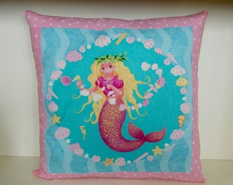 SALE, Mermaid Pillow, Pink or Purple Border, Accent Pillow, Girls Bedding