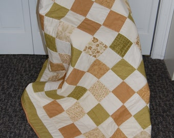 SALE, Woodland Summer Throw Quilt, Hand quilted, Patchwork, Wedding Signature Quilt
