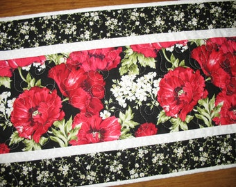 Floral Table Runner, Poppies, handmade, Wall Hanging