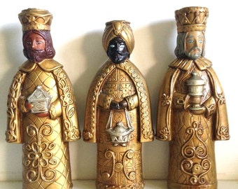 Vintage Christmas Wise Men Candle Holders | Paper Mache | Papier Mache 3 Kings Candleholders | Made in Japan