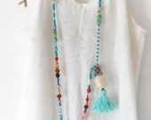 Long Bohemian Necklace,  Beaded Boho Necklace,  Boho Chic,  Ethnic Jewelry,  Tassel Statement Necklace,  Free Shipping