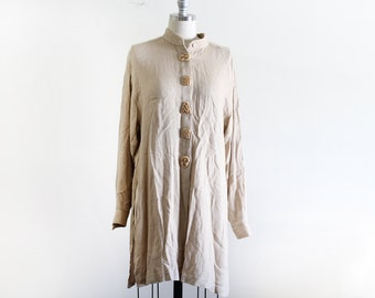 Vintage Woven Tunic with High Slits / Minimal Style