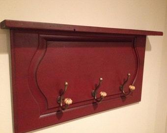 Coat Rack Shelf Made From Reclaimed Wood Oak Cabinet Door