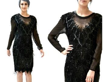 90s does 20s Vintage Black Sequin Dress Size Small Medium// Vintage Black Flapper Inspired Dress Beaded Fringe Dress Size Small Medium