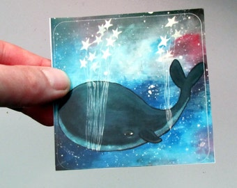 Large Star Whale Sticker Fun Whimsical Art Cute Stationery for Kids
