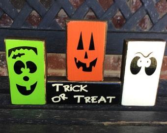 Halloween wood blocks--Trick or Treat Little Monsters