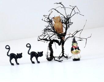 Vintage Halloween Diorama Mini Cats Witch Owl Tree, Assemblage Decor Crafts, Kawaii Halloween Supplies, Mini Halloween, SwirlingOrange11