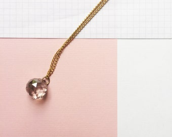 prism -long pendant (prismatic translucent clear multifaceted glass bead on a gold plated chain)