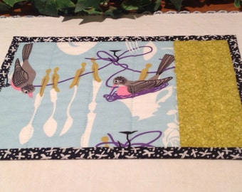 Quilted Mug Rug - Birds Doing the Dishes Snack Mat -  Candle Mat Quiltsy Handmade