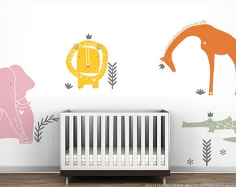 Royal Safari Wall Decal Mural by LittleLion Studio - Lion, Giraffe, Elephant and Crocodile Wall Decals - Candy Color