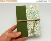 MOVING SALE Refillable Pocket Journal, Notebook, Sketchbook, Delicate Leaves with Suede Cord and Interior Pocket