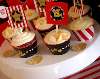 Hollywood Birthday Party Printable Cupcake Toppers by Fara Party Design   Movies Party   Hollywood Star