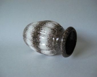 Scheurich Keramik squat mid century vintage West German vase  brownish grey black  speckled white stripes 292 16