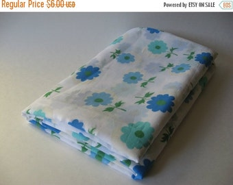 40% SALE Sheer mid century mod daisy flower vintage fabric 4 yards available aqua blue on white material 60s 70s