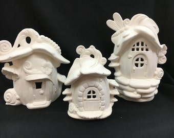 Ceramic 3 Lot Pumpkin House Grouping Bisque (unfinished)