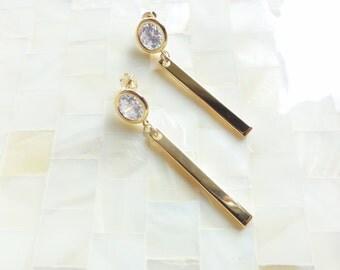 Gold Bezel CZ Posts & Gold Bar Drop Dangle Earrings (E1257)