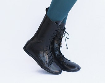 Lace up boots - Impulse in Lustrous Black - Handmade Leather Boots - CUSTOM FIT