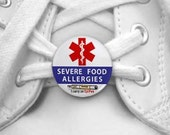 SEVERE FOOD ALLERGIES I Carry an EpiPen Medical Alert Pair of 1 inch Shoe Charm Tags