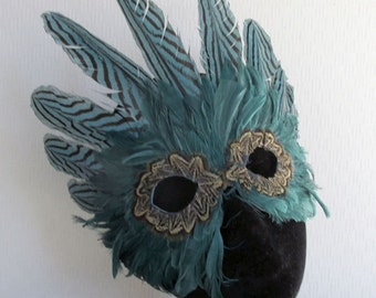 Mardi Gras Crowned Green Feather Mask