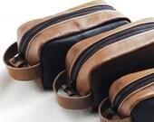 Valentine gift, leather dopp kit, shaving kit, makeup kit, grooming kit, groomsmen, toiletery bag, Christmas gift - Made in USA