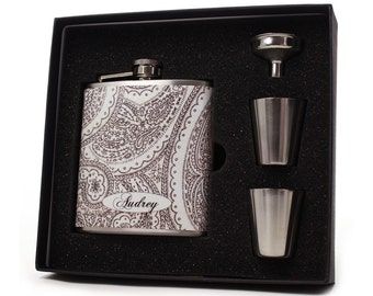 Paisley Flask Gift Set for Women // 6oz Size