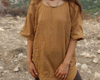Gypsy Top~ camel brown ~ Natural Dye ~ Handwoven Cotton