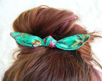 Hair Bows Knotted Bun Clip Green Flowers Hair Bow Girl Teen Women Hair Accessory French Barrette Alligator Clip Hair Ties