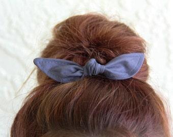 Knotted Bun Clip Hair Bows Dark Grey Solid Color Hair Bow Girl Teen Women Hair Accessory French Barrette Alligator Clip Hair Ties
