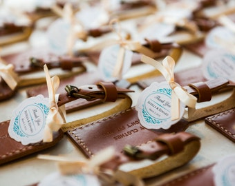 Personalized Wedding Favor 25 Personalized Leather Brown Luggage Tags Bundle, Wedding GIft, Leather Luggage Tag, Engrave Name Tag