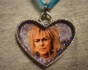 David Bowie Labyrinth Necklace-Jareth Goblin King Fantasy Collectible Jewelry-Heart Style Tibetan Silver Pendant By SpookyCuteAndMore