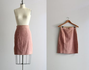 Rose Pink Leather Skirt . 1980s 80s Skirt . Pencil Skirt . Pink Suede Skirt
