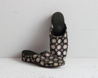 Vintage Black and Gold Slides . 1960s Lounge Shoes . Slip Ons . 60s Slip On Shoes