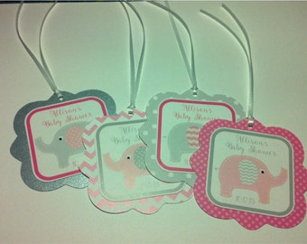 PINK & GRAY ELEPHANTS Baby Shower or Birthday Party Favor Gift Tags
