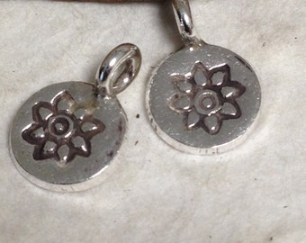 New Sunny Flower Charms -  8.5mm Round Charm with 2.2mm Inner Diameter Bail - Fine Silver S9