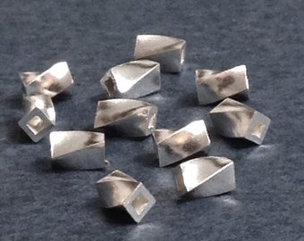 NEW - Sterling Silver Beads - Twisted Cubes 25 pcs  - 3.8mm x 2.25mm MB332
