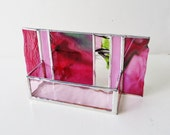Stained Glass Contemporary Business Card Holder Fuschia Pink Green Art Glass Office Decor Modern Desk Accessory Handmade Boss Coworker Gift