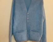 1960s Mohair Men's Sweater Blue Color Size M