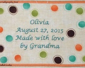 Quilt Label - Mess O' Dots, Custom Made & Hand Embroidered