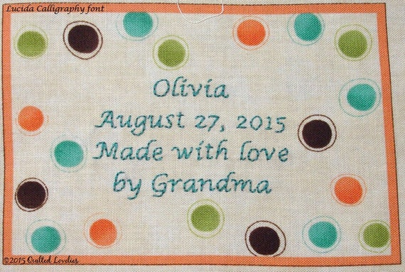 Quilt Label - Mess O' Dots, Custom Made & Hand Embroidered LAST ONE