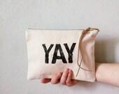 YAY Rough Print Zip Clutch / Canvas Travel Makeup Bag / Black and White Purse / Medium Clutch